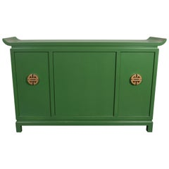 Mid-Century Modern Kelly Green Dry Bar/Sideboard W/ Gilt Pulls Signed James Mont
