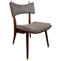 Midcentury Modern Klismos Walnut & Brass Chair by Harold Schwartz for Romweber