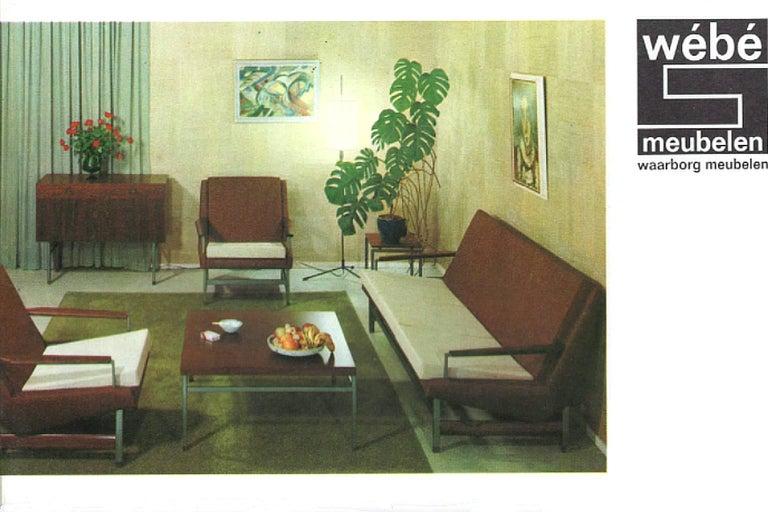 Mid-Century Modern Lounge Chair by Louis Van Teeffelen in Brown Leather, 1960s For Sale 4