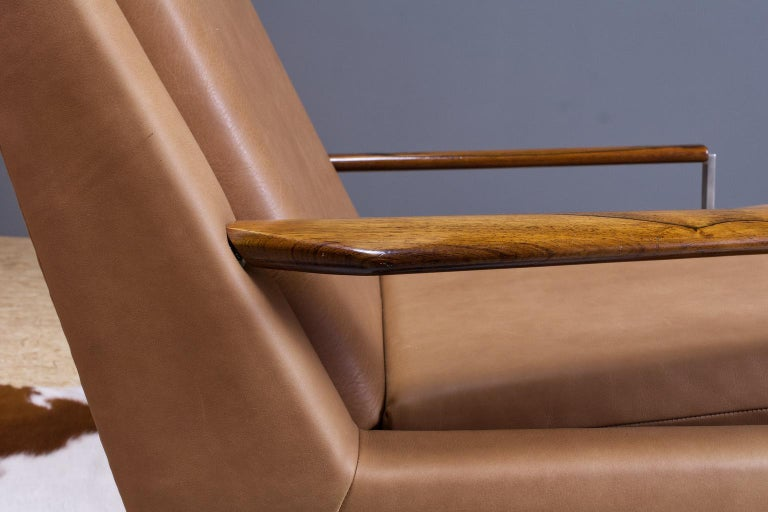 Mid-20th Century Mid-Century Modern Lounge Chair by Louis Van Teeffelen in Brown Leather, 1960s For Sale