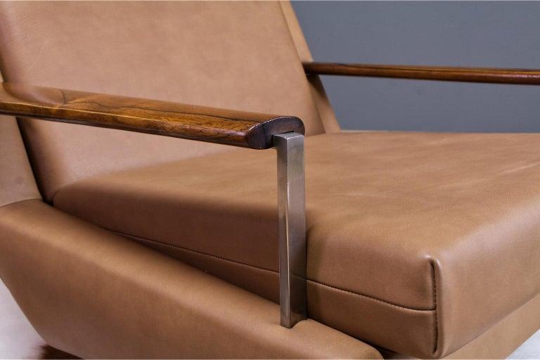 Metal Mid-Century Modern Lounge Chair by Louis Van Teeffelen in Brown Leather, 1960s For Sale