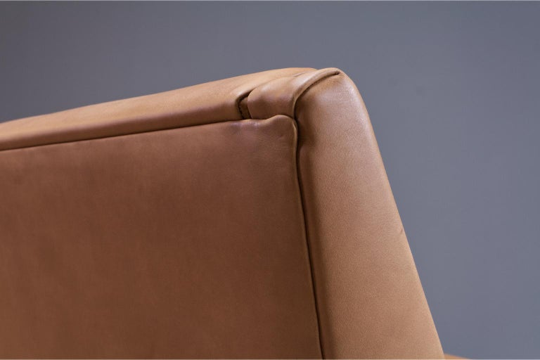 Mid-Century Modern Lounge Chair by Louis Van Teeffelen in Brown Leather, 1960s For Sale 1