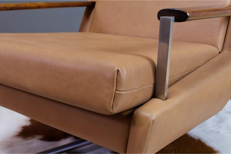 Mid-Century Modern Lounge Chair by Louis Van Teeffelen in Brown Leather, 1960s For Sale 2