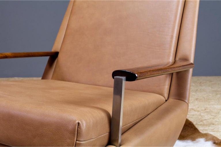 Mid-Century Modern Lounge Chair by Louis Van Teeffelen in Brown Leather, 1960s For Sale 3