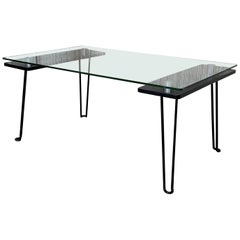Mid-Century Modern Metal Table with Glass Top and Nickel Supports