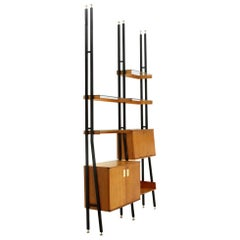 Mid-Century Modern Metal, Wood and Glass Wall Unit, 1950s