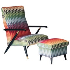 Mid-Century Modern Multicolored Black Italian Armchair with Footrest Italy, 1950