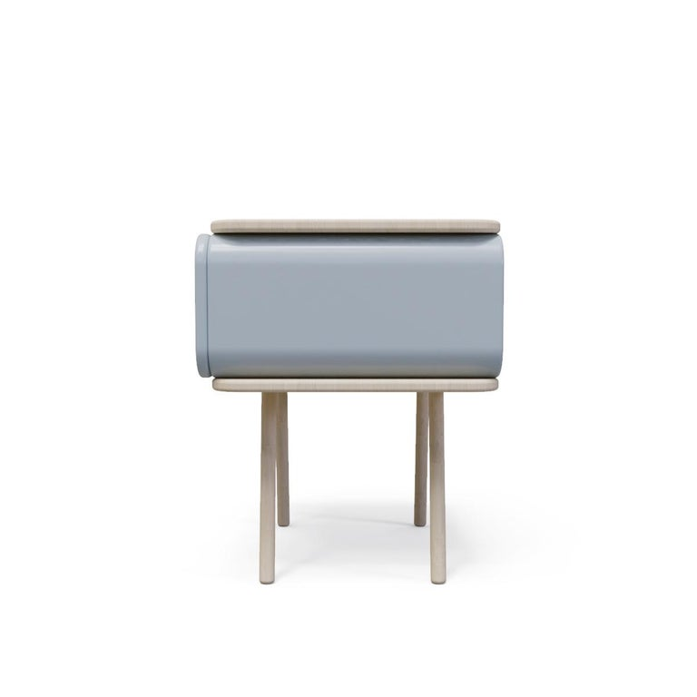 Mexican Mid-Century Modern Style Nightstand or End Table in Metal and Natural Solid Wood For Sale