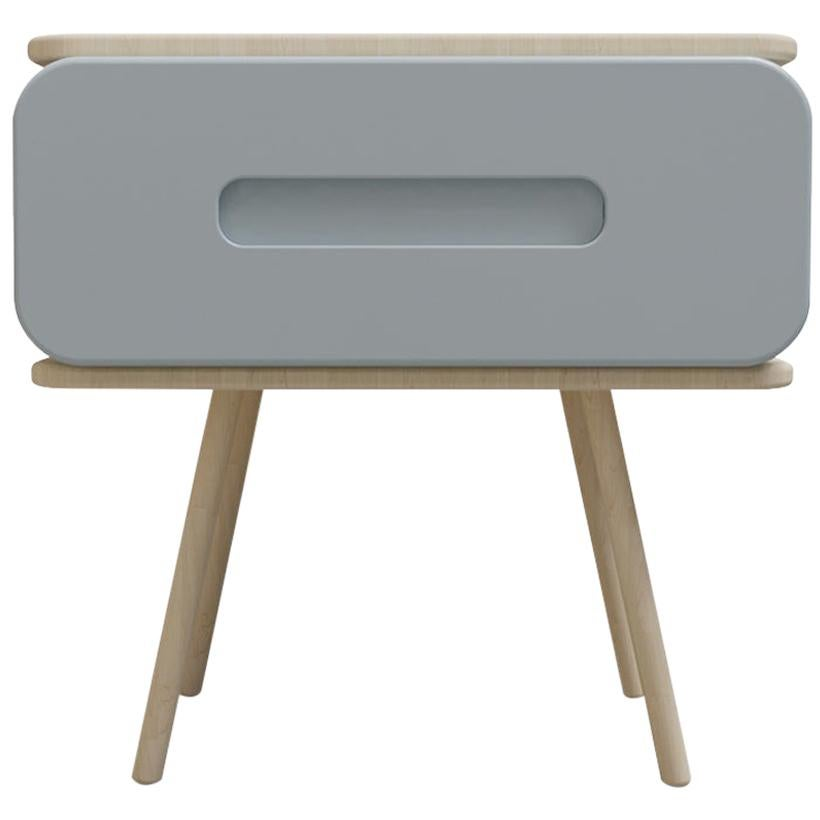 Mid-Century Modern Style Nightstand or End Table in Metal and Natural Solid Wood