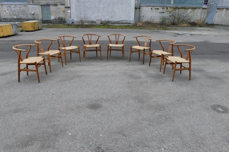 Eight oak, Wishbone chairs by Hans Wegner. Wishbone chair (1949), also known as the