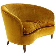 Mid-Century Modern Ocher Velvet 2-Seat Sofa, 1930s