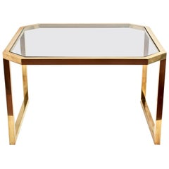 Mid-Century Modern Octagonal Brass Italian Table with Glass Top, 1970s