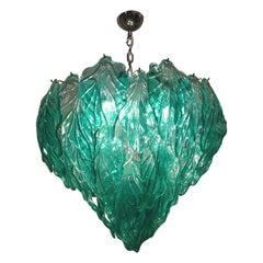 Mid-Century Modern Organic Turquoise Murano Glass Italian Suspension Lamp, 1960