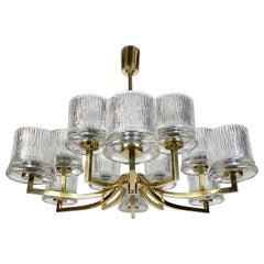Midcentury Modern Orrefors Spider Chandelier Ice Glass and Brass, 1950s, Sweden