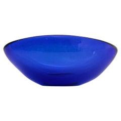Mid-Century Modern Oval Blue Glass Bowl, 1970s