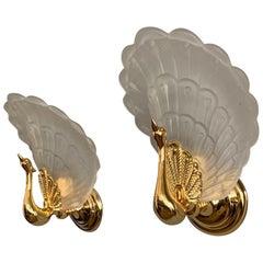 Midcentury Modern Pair of Wall Sconces w. Golden Bronze Glass Peacock Sculptures