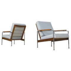 Mid-Century Modern Parry Set of Two Lounge Chairs Model Lotus in Teak and Grey