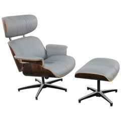 Midcentury Modern Plycraft Lounge Chair and Ottoman in Gray and Walnut
