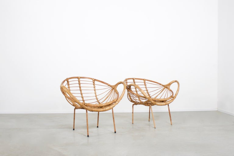 Mid-Century Modern Midcentury Modern Rattan and Metal Armchairs, 1960s For Sale