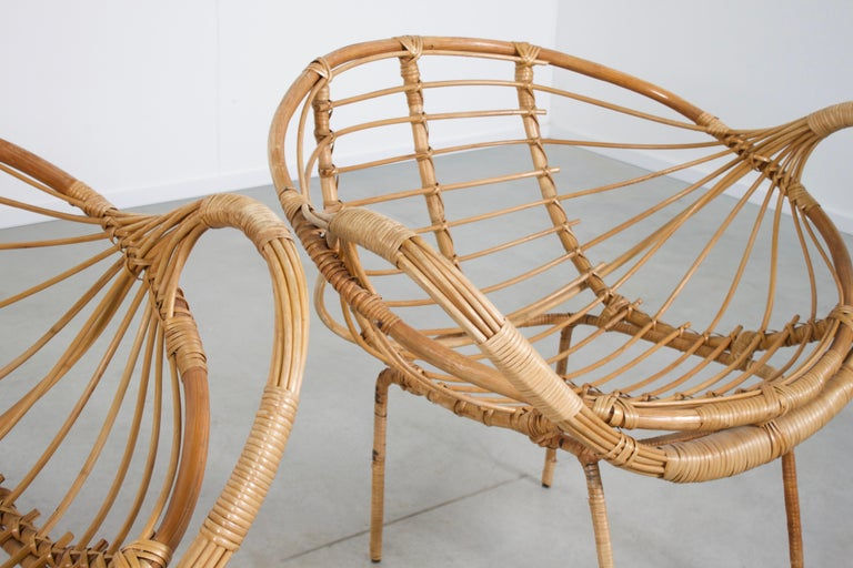 French Midcentury Modern Rattan and Metal Armchairs, 1960s For Sale