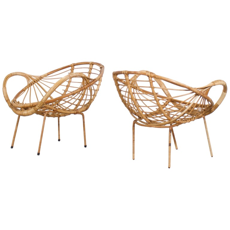 Midcentury Modern Rattan and Metal Armchairs, 1960s For Sale