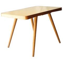Mid-Century Modern Rectangular Oak Glass Yellow Centre Table Czech Republic 1960