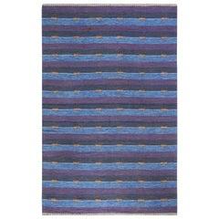 Mid-Century Modern Reversible Flat-Weave Wool Rug in Blue and Purple Stripes