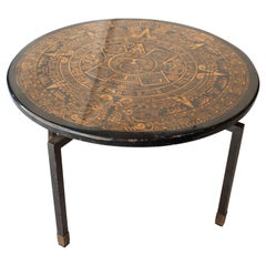 Midcentury Modern Round Black Gold Aztec Motifs Center Table, Italy, 1950