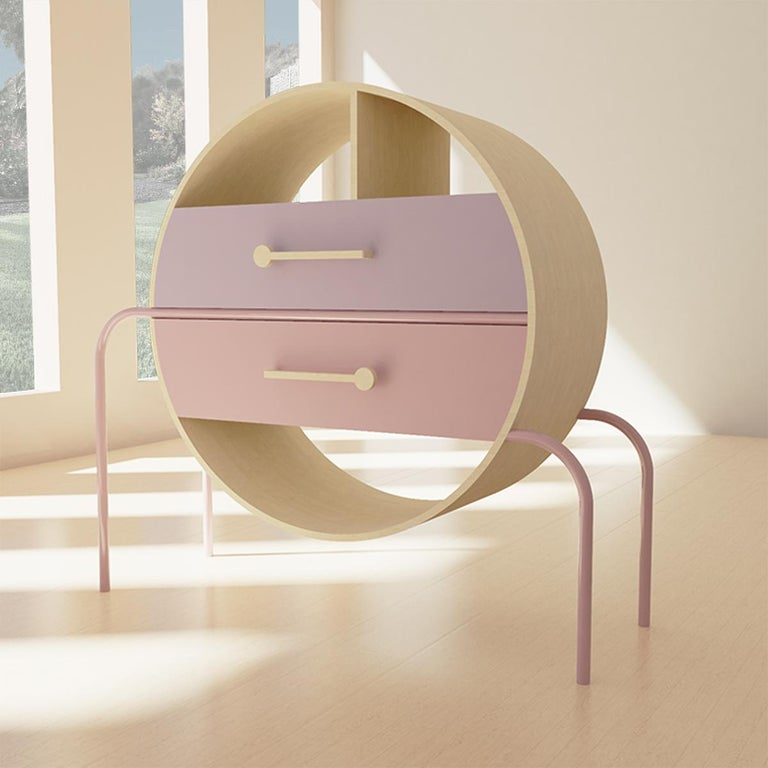 Hand-Crafted Mid-Century Modern Round Credenza in Wood and Metal For Sale