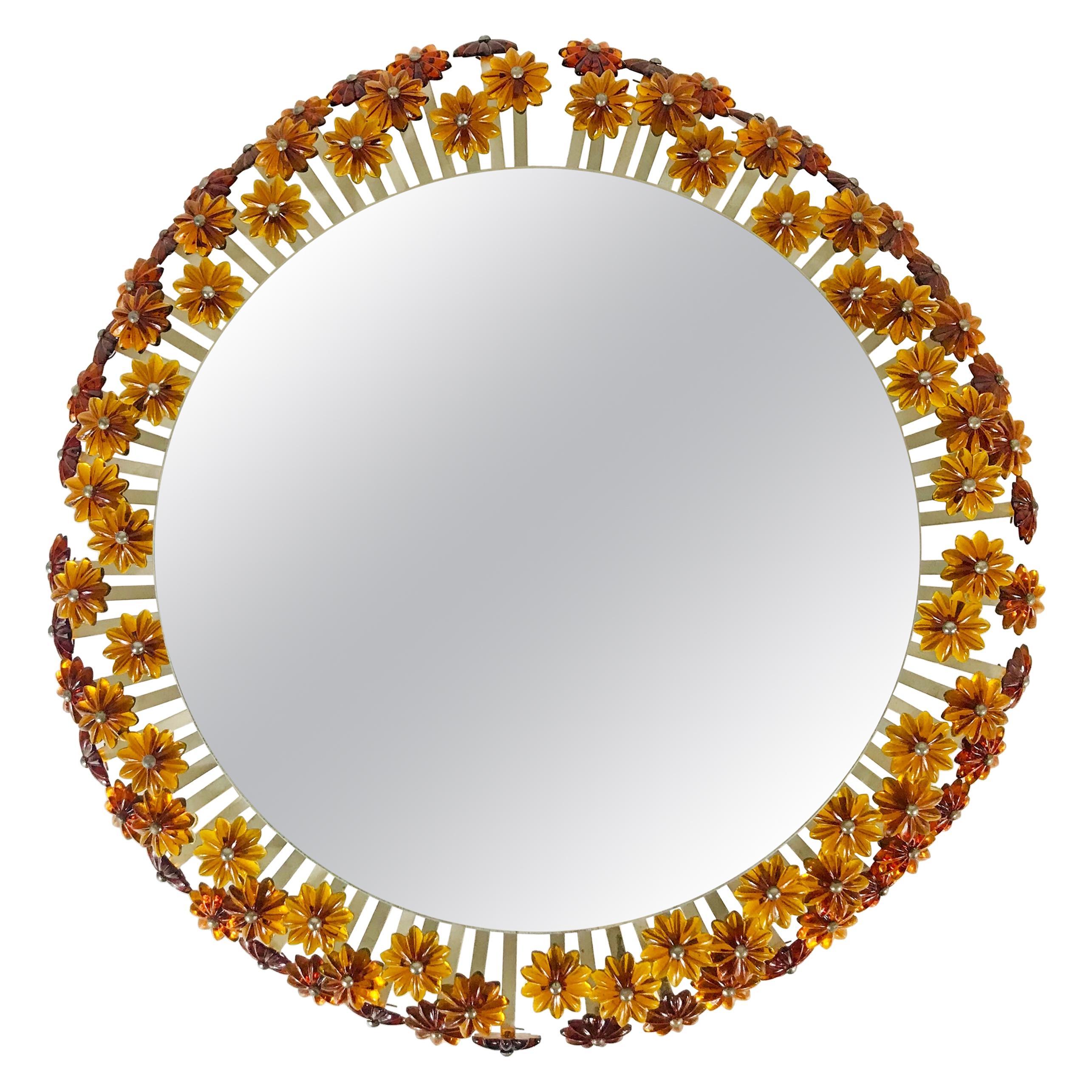 Mid-Century Modern Round Mirror by Emil Stejnar for Rupert Nikoll, Austria 1960s