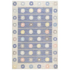 Mid-Century Modern Scandinavian Flat-Weave Rug in Blue, Grey, Pink, and Yellow