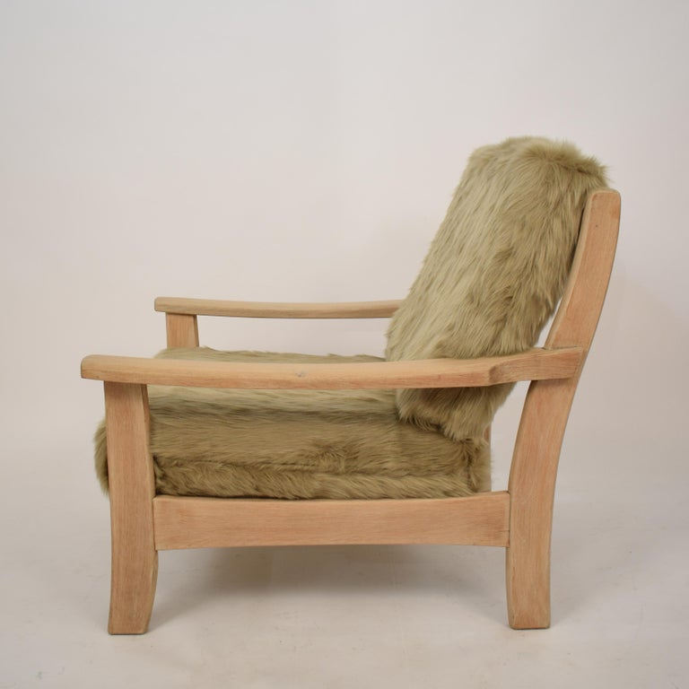 Midcentury Modern Scandinavian Light Oak Wood and Faux Fur Armchair, circa 1970 For Sale 3