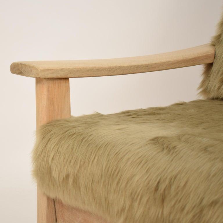 Midcentury Modern Scandinavian Light Oak Wood and Faux Fur Armchair, circa 1970 For Sale 4
