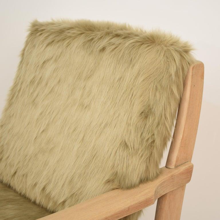 Midcentury Modern Scandinavian Light Oak Wood and Faux Fur Armchair, circa 1970 For Sale 5