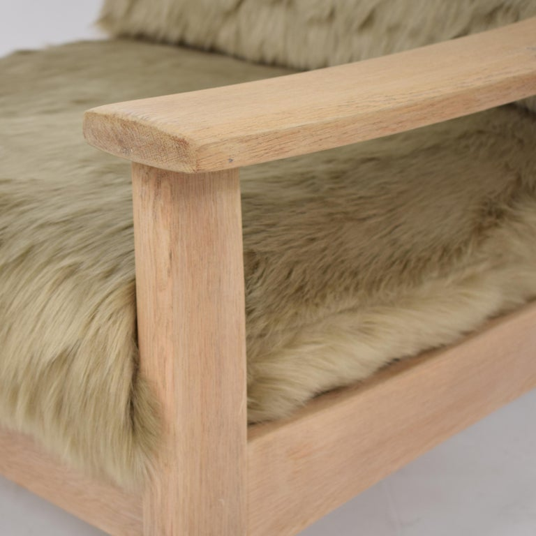 Midcentury Modern Scandinavian Light Oak Wood and Faux Fur Armchair, circa 1970 For Sale 6
