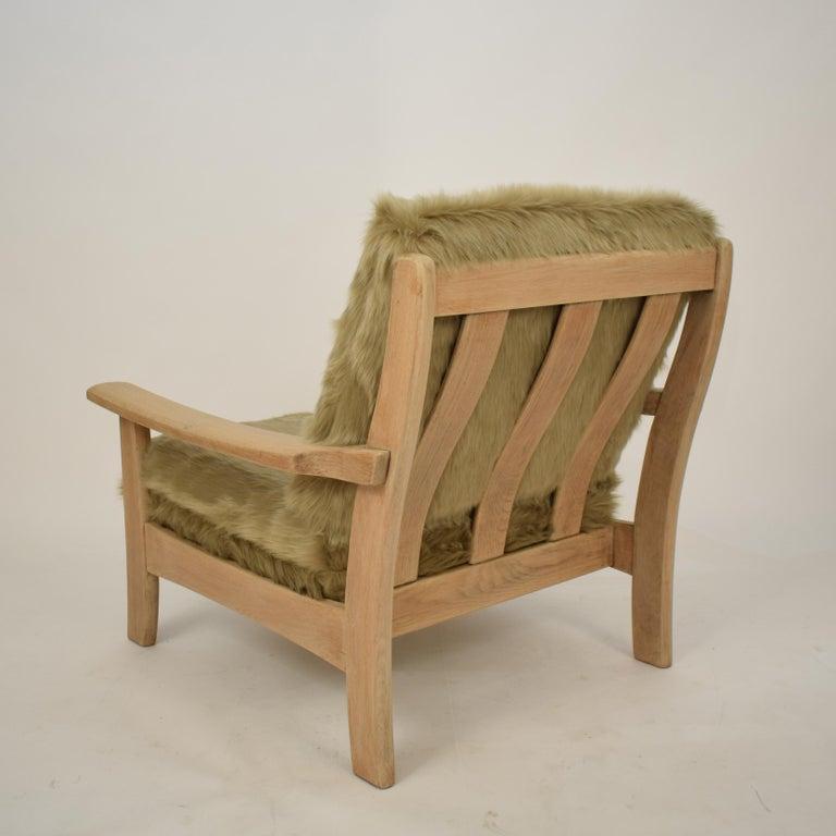 Midcentury Modern Scandinavian Light Oak Wood and Faux Fur Armchair, circa 1970 For Sale 7