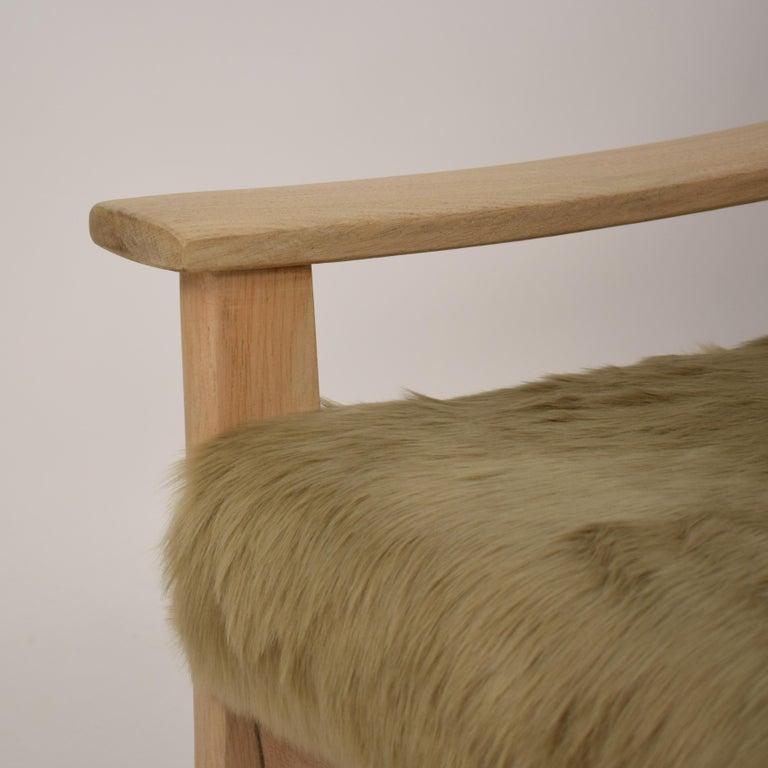 Midcentury Modern Scandinavian Light Oak Wood and Faux Fur Armchair, circa 1970 For Sale 8
