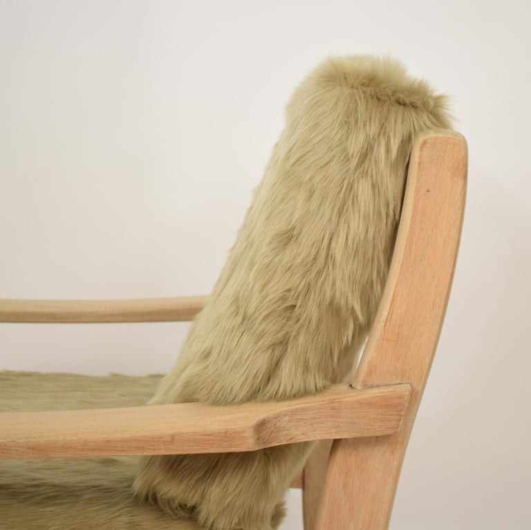 Midcentury Modern Scandinavian Light Oak Wood and Faux Fur Armchair, circa 1970 For Sale 9
