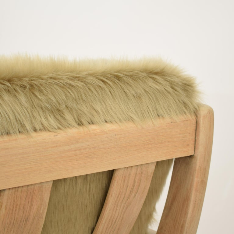 Midcentury Modern Scandinavian Light Oak Wood and Faux Fur Armchair, circa 1970 For Sale 10