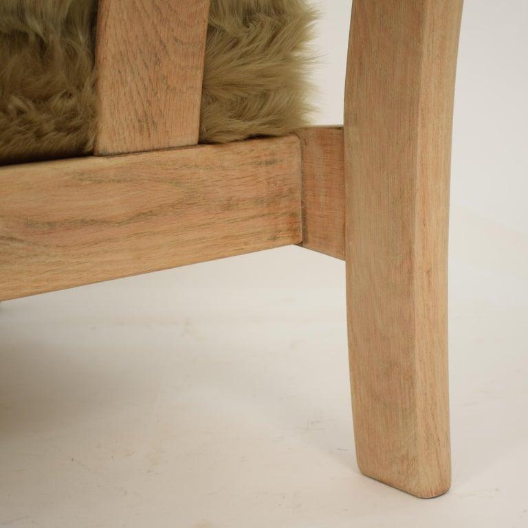 Midcentury Modern Scandinavian Light Oak Wood and Faux Fur Armchair, circa 1970 For Sale 11