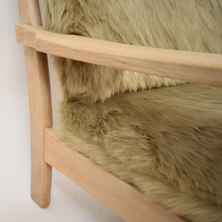 Danish Midcentury Modern Scandinavian Light Oak Wood and Faux Fur Armchair, circa 1970 For Sale