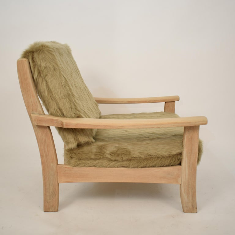 Limed Midcentury Modern Scandinavian Light Oak Wood and Faux Fur Armchair, circa 1970 For Sale