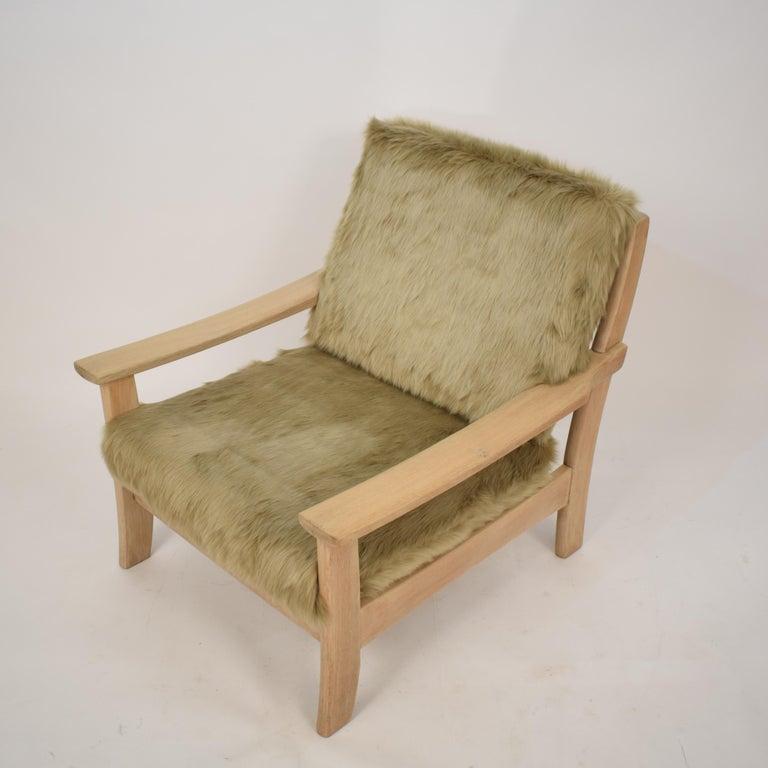 Late 20th Century Midcentury Modern Scandinavian Light Oak Wood and Faux Fur Armchair, circa 1970 For Sale