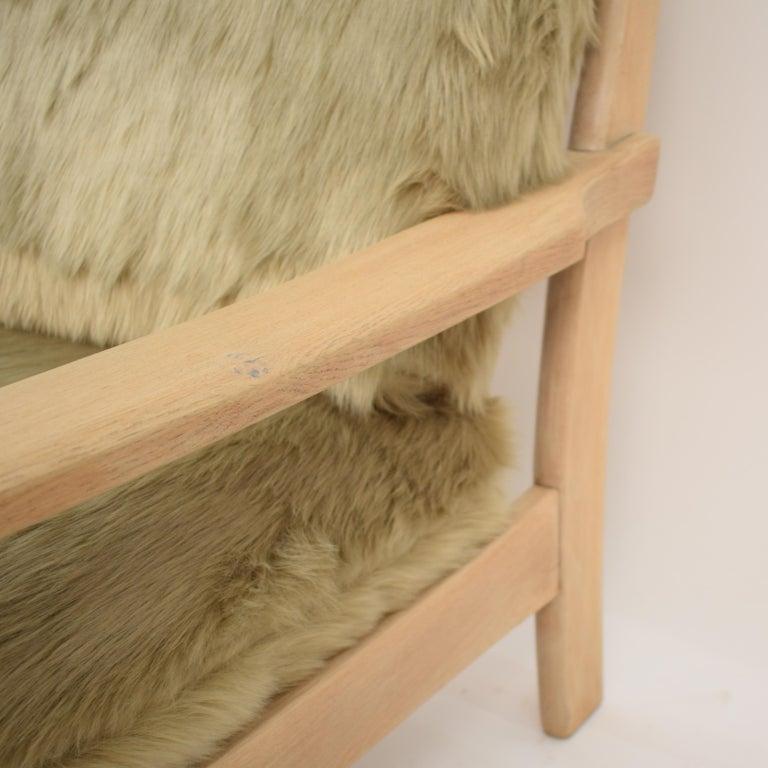 Midcentury Modern Scandinavian Light Oak Wood and Faux Fur Armchair, circa 1970 For Sale 1