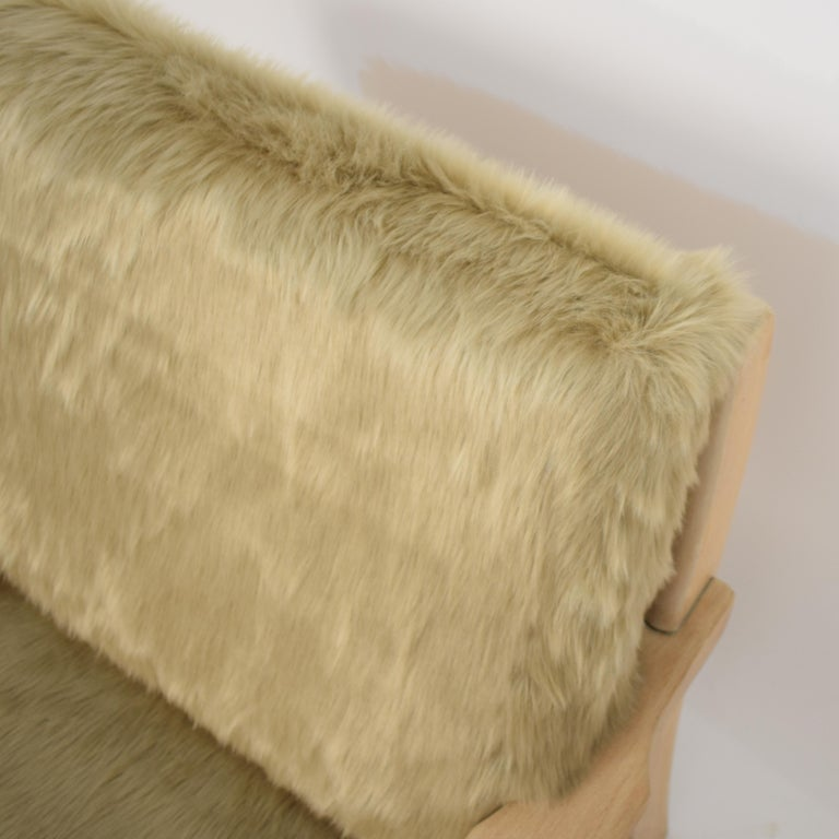 Midcentury Modern Scandinavian Light Oak Wood and Faux Fur Armchair, circa 1970 For Sale 2