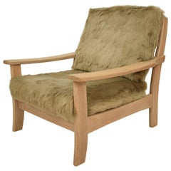 Midcentury Modern Scandinavian Light Oak Wood and Faux Fur Armchair, circa 1970