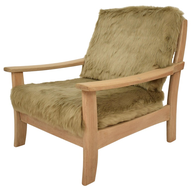 Midcentury Modern Scandinavian Light Oak Wood and Faux Fur Armchair, circa 1970 For Sale