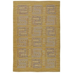 Midcentury Modern Scandinavian Rug in Yellow and Grey