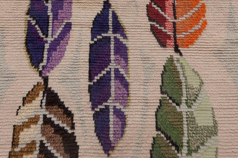 Midcentury Modern Scandinavian rug with colorful leaves on ivory and baby blue background Size: 4'7
