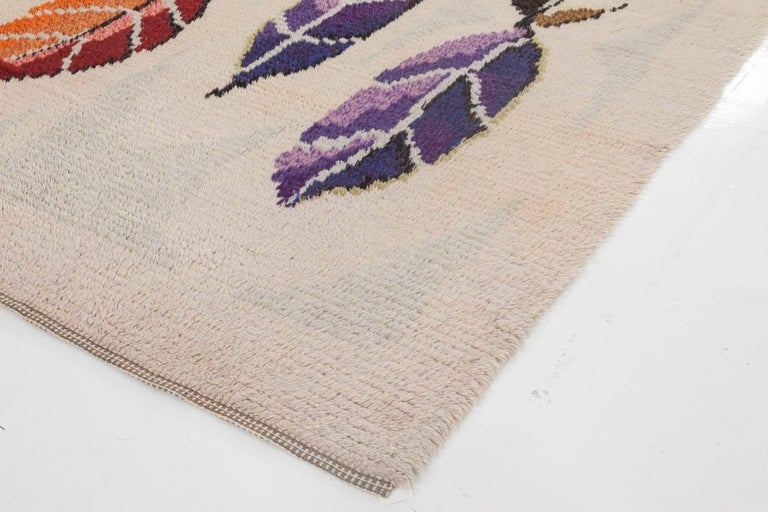 Hand-Knotted Midcentury Modern Scandinavian Rug with Colorful Leaves For Sale